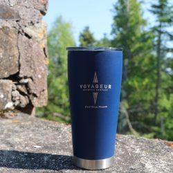blue tumbler Voyageur Brewing